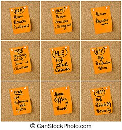 Collage of Business Acronyms written on paper note - Collage...