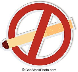 Vector illustration of sign smoking ban. Cardboard style...