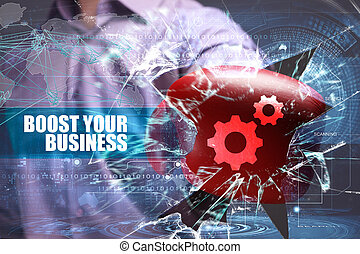 Business, Technology, Internet and network security. boost...