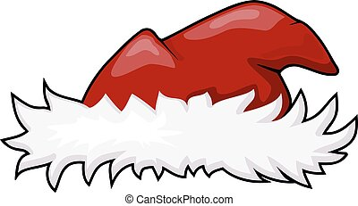 Vector illustration of a fur hat of Santa Claus with red top. Cartoon style