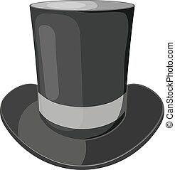 Vector cartoon illustration of a black cylinder hat on a white background