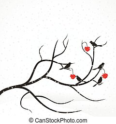 Rowan tree - Bird on branch of Rowan. Vector illustration