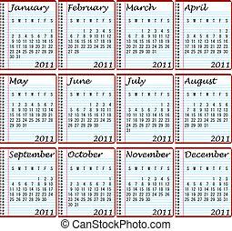 2011 Calendar on Spiral Notebooks
