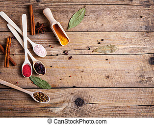 Spices on wooden background. With empty space for advertising text