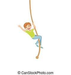 Boy Climbing A Rope In Physical Education Class In School...