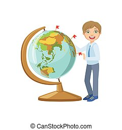 Boy In School Uniform With Giant Globe Simple Design...
