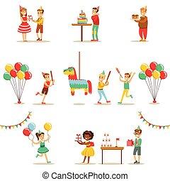 Kids Birthday Party Set Of Scenes