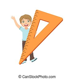 Boy In School Uniform With Giant Triangle Ruler Simple...