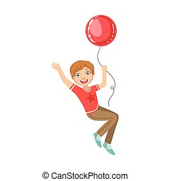 Boy Flying Hanging On Big Red Balloon
