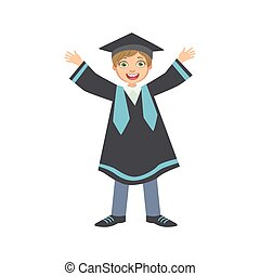 Happy Boy In Graduation Mantle And Square Black Hat