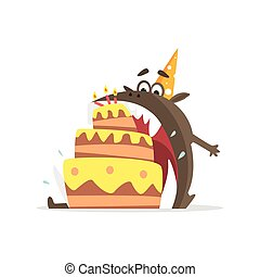 Black Monster Eating Party Cake In One Gulp Funky Creature...