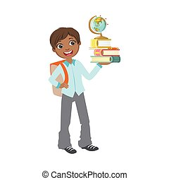 Boy In School Uniform With Books And Globe Simple Design...