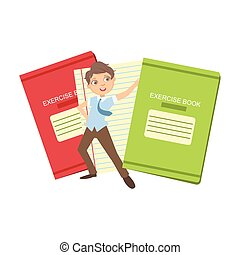 Boy In School Uniform With Two Giant Notebooks Simple Design...
