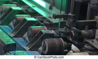 Automatic line machine for sticking together PVC sections of...