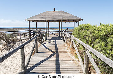 Punta Candor beach, Rota, Cadiz, Spain. Fishing weir, fish...