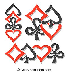 Vector logo cards Suits, three abstract set gamble Poker...