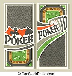 Vector vertical banner of holdem Poker - Vector logo of...
