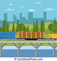 Mixed freight train within urban landscape - Side view of...