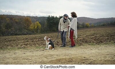 Senior couple with dog on a walk in colorful autumn nature -...