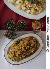 Stewed cabbage on Christmas table