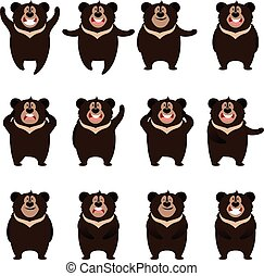 Set of flat moon bear icons - Vector image of the Set of...