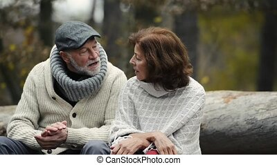 Senior couple on a walk in colorful autumn nature -...