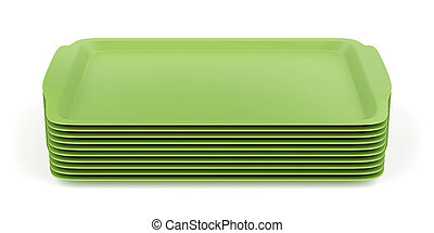 Group of plastic trays - Group of green plastic trays on...