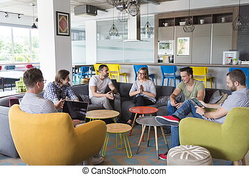 team meeting and brainstorming - young people group in...