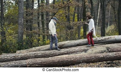 Senior couple in autumn forest walking on wooden logs