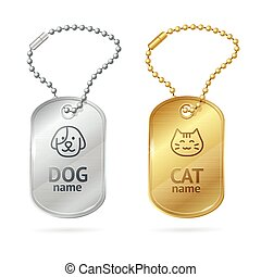 Cat Dog Animal Tags or Medallion. Vector - Cat Dog Animal...