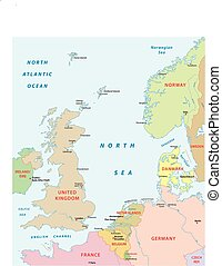north sea map - north sea vector map