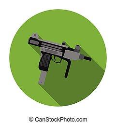 UZI weapon icon in flat style isolated on white background....