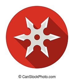 Metal shuriken icon in flat style isolated on white...