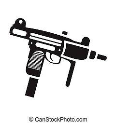 UZI weapon icon in black style isolated on white background....