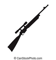 Sniper rifle icon in black style isolated on white background. Weapon symbol stock vector illustration.