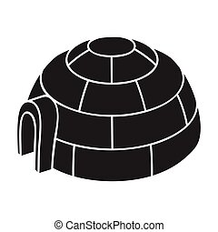 Igloo icon in black style isolated on white background. Ski...