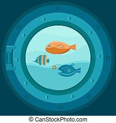 Illustration of a ship porthole.