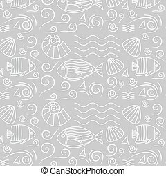 Seamless pattern with fishes, shells - Vector marine...
