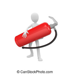 3d man with fire extinguisher - 3d man holding a big red...
