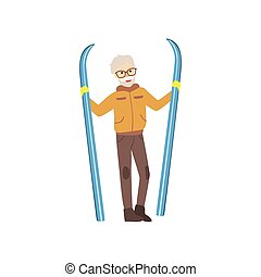 Old Man Holding Skis Winter Sports Illustration