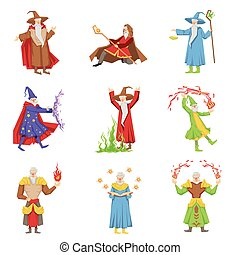 Classic Fantasy Magicians Set Of Characters. Fairy Tale...