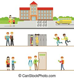 School Building Exterior And Kids In Its Corridors Illustrations