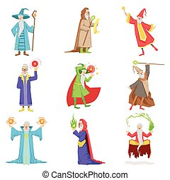 Classic Fantasy Wizards Set Of Characters. Fairy Tale Mages...