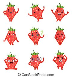 Geometric Strawberry Character Funny Emoticons. Childish...