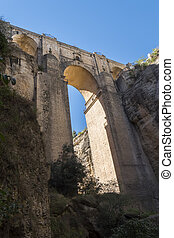 New Bridge over Guadalevin River in Ronda, Malaga, Spain....
