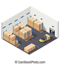 Element infographic presents work inside the warehouse, shipment of goods is carried out with a forklift