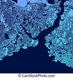 Istanbul Two-Tone Map Artprint, Vector Outline Version,...