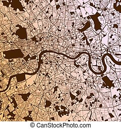 London Two-Tone Map Artprint, Vector Outline Version, ready...