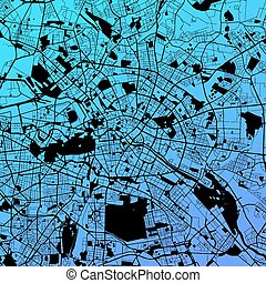Berlin Two-Tone Map Artprint, Vector Outline Version, ready...