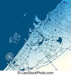 Dubai Two-Tone Map Artprint, Vector Outline Version, ready...